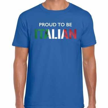 Italie proud to be italian landen t-shirt blauw heren