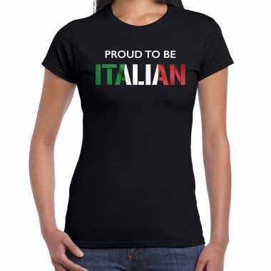 Italie proud to be italian landen t-shirt zwart dames