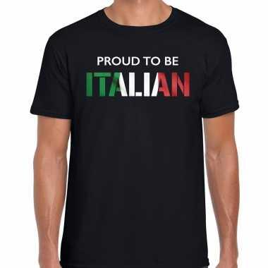 Italie proud to be italian landen t-shirt zwart heren