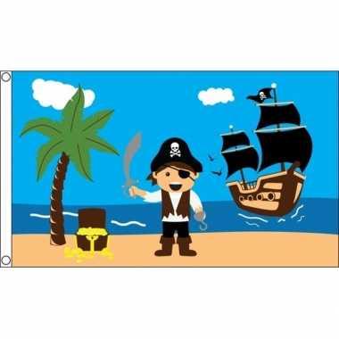 Jongens piratenschat vlag 150 x 90 cm