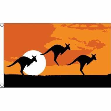 Kangoeroe thema australie vlag 90 x 150 cm