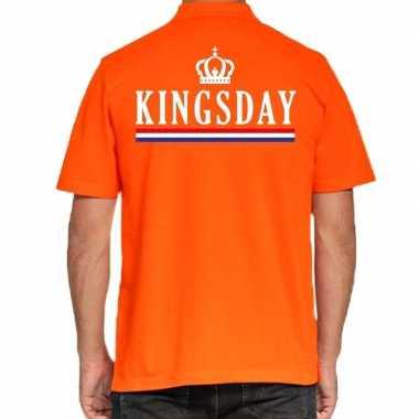 Kingsday poloshirt vlag oranje voor heren