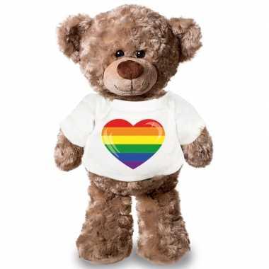 Knuffel teddybeer met gaypride vlag hart t-shirt 43 cm