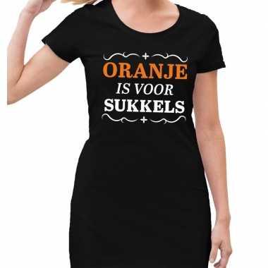 Koningsdag jurkjes zwart met oranje is voor sukkels dames