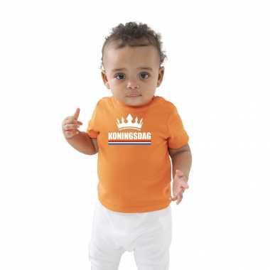 Koningsdag met kroon t-shirt oranje baby peuter voor jongens en meisjes
