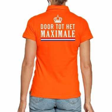 Koningsdag poloshirt door tot het maximale oranje voor dames