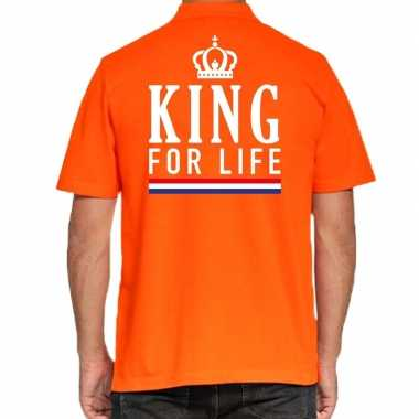 Koningsdag poloshirt king for life oranje voor heren