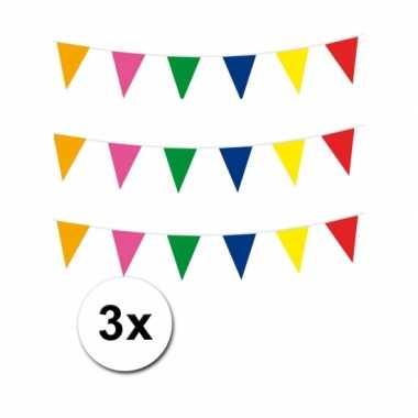 Meerkleurige vlaggenlijnen 3 x