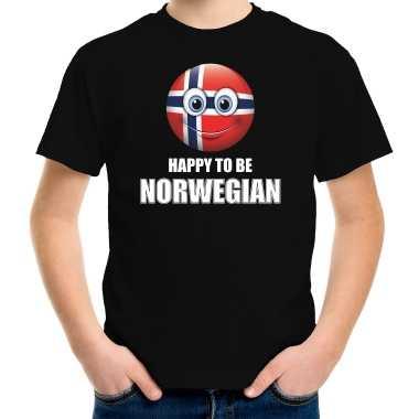 Noorwegen emoticon happy to be norwegian landen t-shirt zwart kinderen