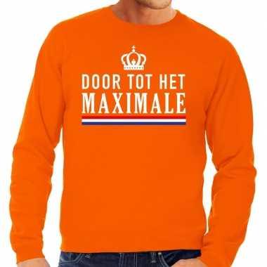 Oranje door tot het maximale sweater voor heren