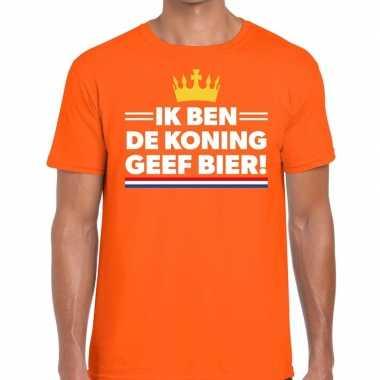 Oranje ik ben de koning geef bier t-shirt voor heren
