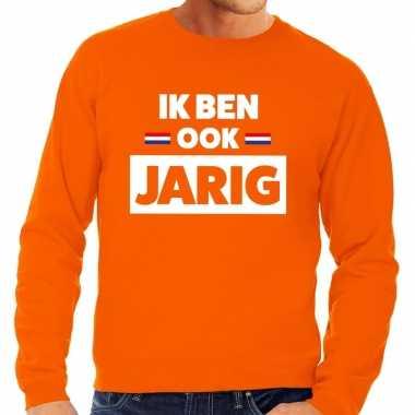 Oranje ik ben ook jarig sweater voor heren