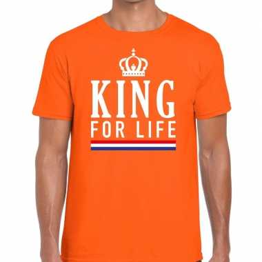 Oranje king for life t-shirt voor heren
