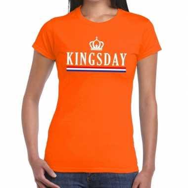 Oranje kingsday met hollandse vlag t-shirt voor dames