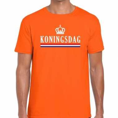 Oranje koningsdag met vlag en kroontje t-shirt voor heren