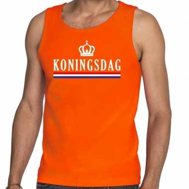 Oranje koningsdag met vlag tanktop / mouwloos shirt voor he