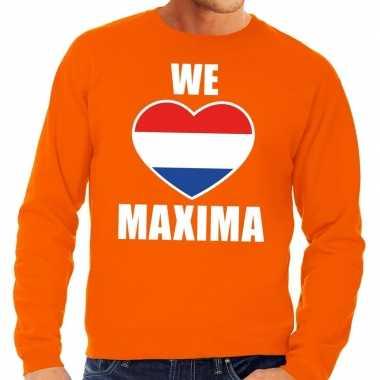 Oranje we love maxima sweater voor heren