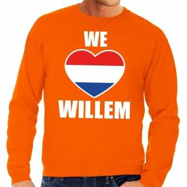 Oranje we love willem sweater voor heren