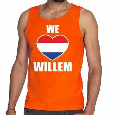 Oranje we love willem tanktop / mouwloos shirt voor heren