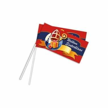 Pakjesavond rood zwaaivlaggetje welkom sinterklaas