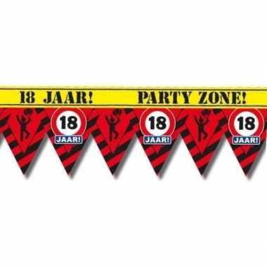 Plastic markeerlint vlaggetjes 18 jaar 12 meter feestartikelen