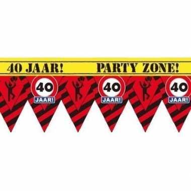 Plastic markeerlint vlaggetjes 40 jaar 12 meter feestartikelen