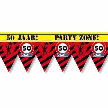 Plastic markeerlint vlaggetjes 50 jaar 12 meter feestartikelen