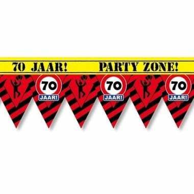 Plastic markeerlint vlaggetjes 70 jaar 12 meter feestartikelen