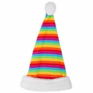 Pluche kerstmuts in regenboogkleuren