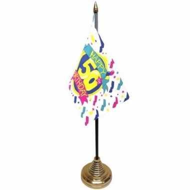 Polyester 50 jaar vlag 10 x 15 cm tafel versiering