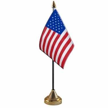 Polyester amerikaanse/us vlag voor op bureau 10 x 15 cm