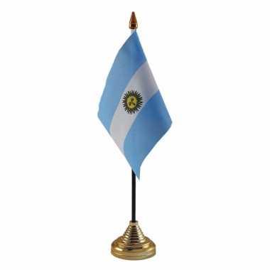 Polyester argentijnse vlag voor op bureau 10 x 15 cm