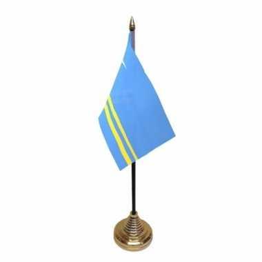 Polyester arubaanse vlag voor op bureau 10 x 15 cm