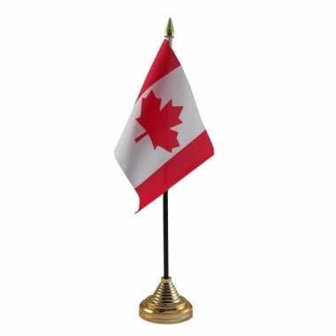 Polyester canadese vlag voor op bureau 10 x 15 cm