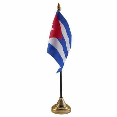 Polyester cubaanse vlag voor op bureau 10 x 15 cm