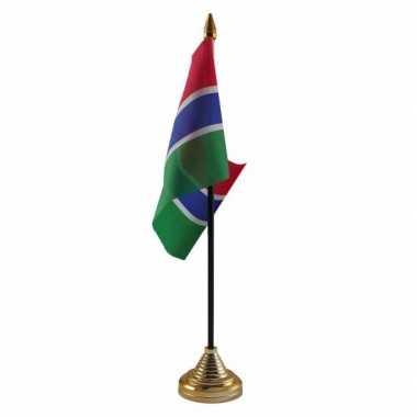 Polyester gambiaanse vlag voor op bureau 10 x 15 cm