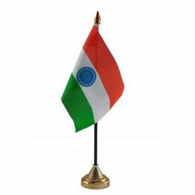 Polyester indiase vlag voor op bureau 10 x 15 cm
