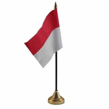 Polyester indonesische vlag voor op bureau 10 x 15 cm