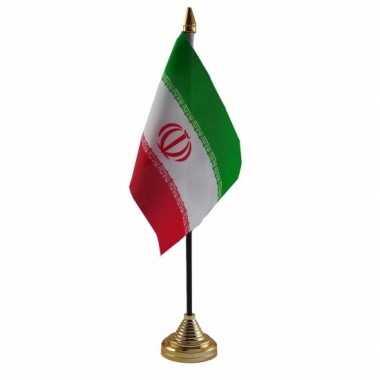 Polyester iraanse vlag voor op bureau 10 x 15 cm