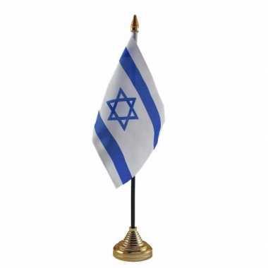 Polyester israelische vlag voor op bureau 10 x 15 cm