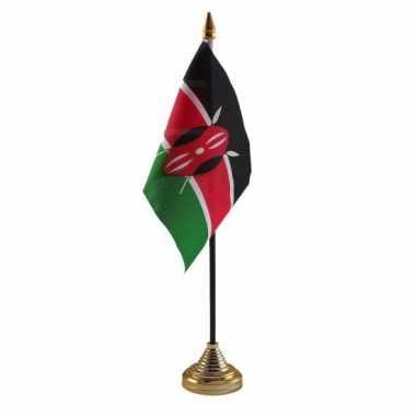 Polyester keniaanse vlag voor op bureau 10 x 15 cm