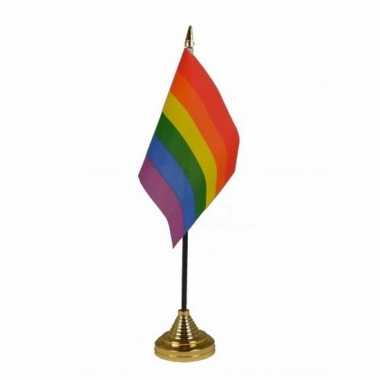 Polyester lgbt regenboog vlag voor op bureau 10 x 15 cm
