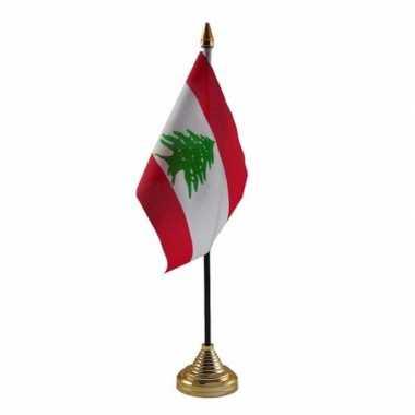 Polyester libanese vlag voor op bureau 10 x 15 cm