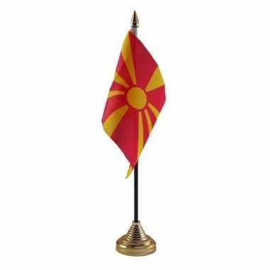 Polyester macedonische vlag voor op bureau 10 x 15 cm