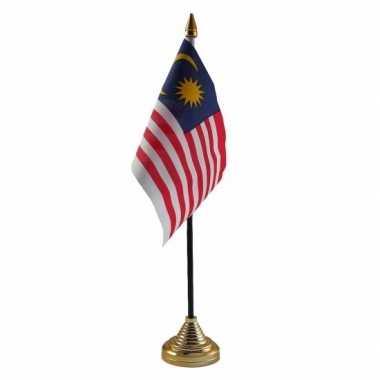 Polyester maleisische vlag voor op bureau 10 x 15 cm
