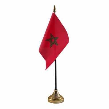 Polyester marokkaanse vlag voor op bureau 10 x 15 cm