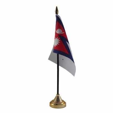 Polyester nepalese vlag voor op bureau 10 x 15 cm