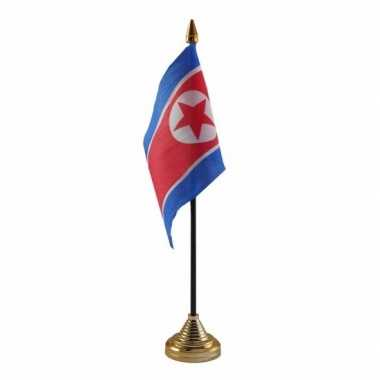 Polyester noord koreaanse vlag voor op bureau 10 x 15 cm