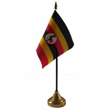 Polyester oegandese vlag voor op bureau 10 x 15 cm