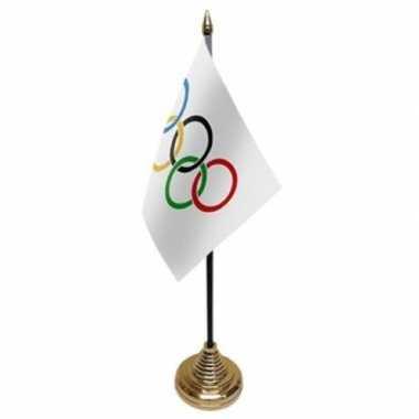Polyester olympische vlag 10 x 15 cm tafel versiering